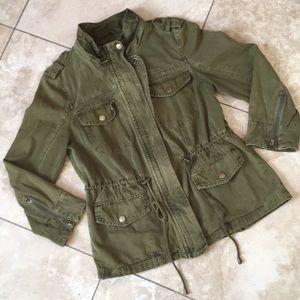 UNIQUE! Canvas Cotton military olive jacket